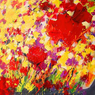 Poppies Painting - Yellow And Red Poppies by Mario Zampedroni