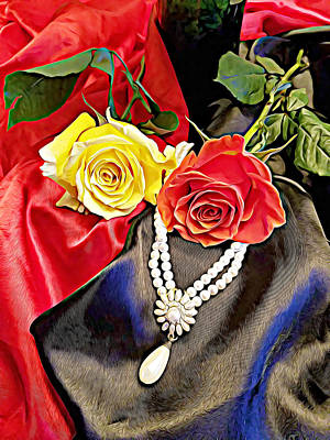 Manipulate Mixed Media - Yellow And Red Rose Black And Red Silk Still Life Art by Elizavella Bowers