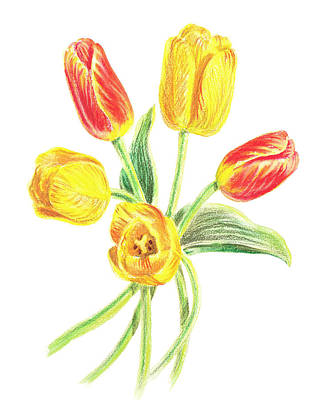 Painting - Yellow And Red Tulips by Irina Sztukowski