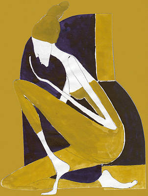 Art Print featuring the painting Yellow And Violet by Maya Manolova