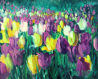 Yellow And Violet Tulips Art Print by Sally Seago