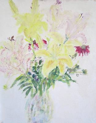 Painting - Yellow And Wine Speckled  Stargazers by Glenda Crigger