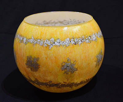 Glass Art - Yellow And White Vase by Christopher Schranck