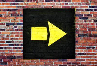 Photograph - Yellow Arrow - Right - Brick Wall by Nikolyn McDonald