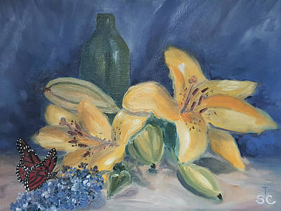 Painting - Yellow Aziatic Lily With Monarch by Sharon Casavant