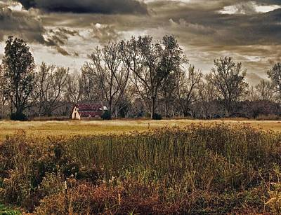 Yellow Barn And The Field Original by Michael Thomas