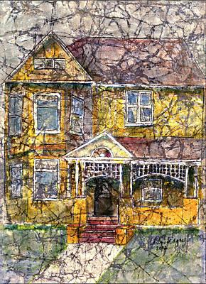 Yellow Batik House Art Print by Arline Wagner