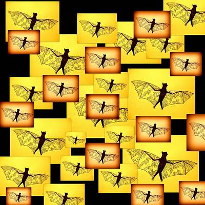Bat Drawing - Yellow Bats by Cathy Jacobs