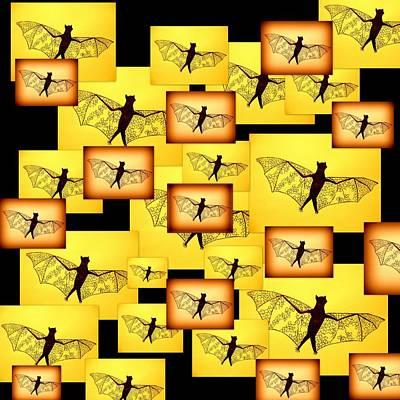 Bat Digital Art - Yellow Bats by Cathy Jacobs