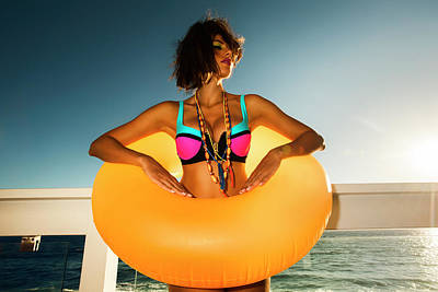 Photograph - Yellow Beach Tube Babe by Amyn Nasser