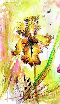 Painting - Yellow Bearded Iris And Bees by Ginette Callaway