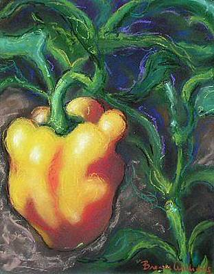 Pepper Painting - Yellow Bell Pepper by Brenda Williams
