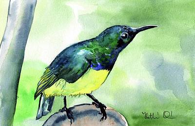 Art Print featuring the painting Yellow Bellied Sunbird by Dora Hathazi Mendes