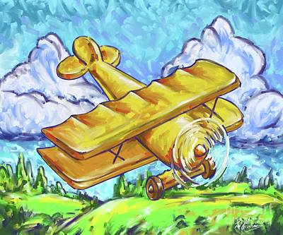 Painting - Yellow Bi Plane by Tim Gilliland