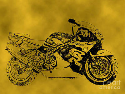 Oil Slick Drawing - Yellow Bike by Stephen Brooks