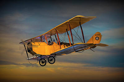 Yellow Biplane With Sunset Cloudy Sky Art Print by Randall Nyhof