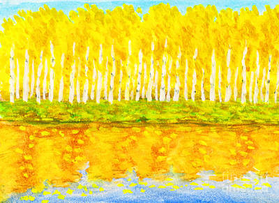 Painting - Yellow Birch Forest In Autumn, Painting by Irina Afonskaya