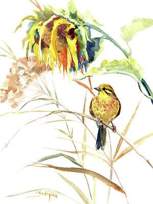 Painting - Yellow Bird And Flower, Sunflower And Yellowhammer by Suren Nersisyan