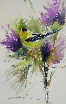 Painting - Yellow Bird In The Thistles by Sandra Strohschein