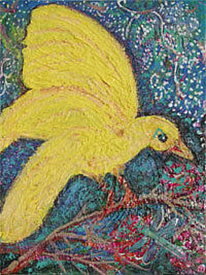 Canary Mixed Media - Yellow Bird Returns by Anne-Elizabeth Whiteway