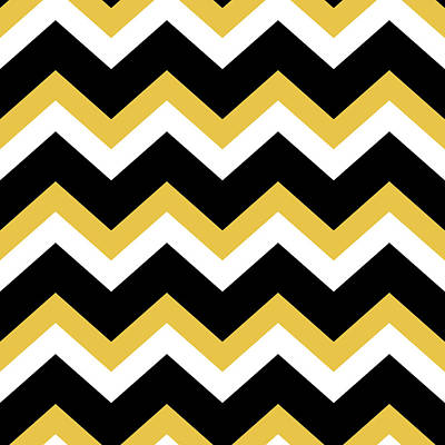 Chevron Mixed Media - Yellow Black Chevron by Christina Rollo