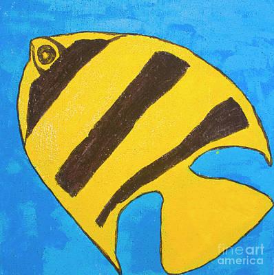 Painting - Yellow-black Fish, Painting by Irina Afonskaya