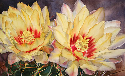 Cactus Flower Watercolor Painting - Yellow Blooms by Kathleen Ballard