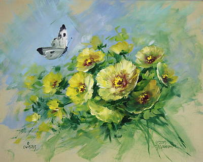 Yellow Blossoms And Butterfly Art Print by David Jansen