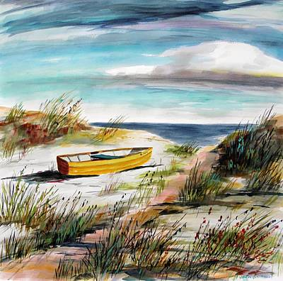 Beach Landscape Drawing - Yellow Boat B by John Williams