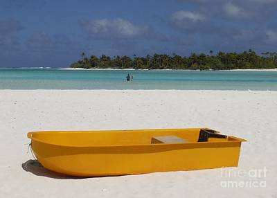 Photograph - Yellow Boat In South Pacific by Barbie Corbett-Newmin