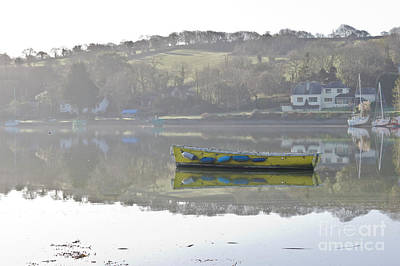 Photograph - Yellow Boat On Misty Mylor Creek by Terri Waters