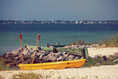 Photograph - Yellow Boats At The Beach by Toni Hopper