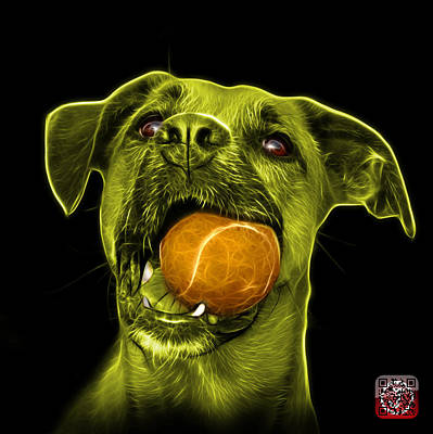 Digital Art - Yellow Boxer Mix Dog Art - 8173 - Bb by James Ahn