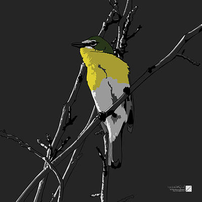Digital Art - Yellow-breasted Chat - Gray Background by Marcus England