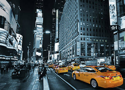 Yellow Broadway At Night - Nyc Art Print