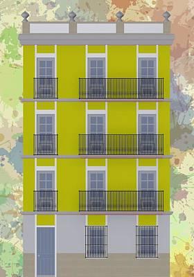 Illustration Digital Art - Yellow Building Facade by Alberto RuiZ