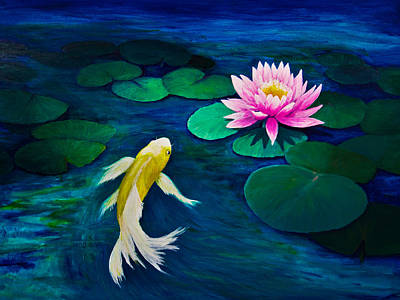 Yellow Butterfly Koi And A Pink Water Lily Art Print