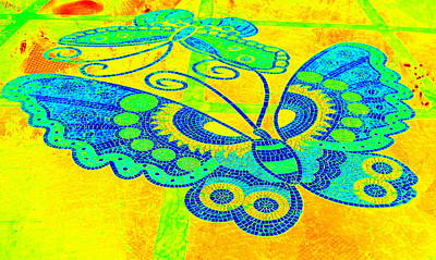 Photograph - Yellow Butterfly Mosaic by Karen J Shine