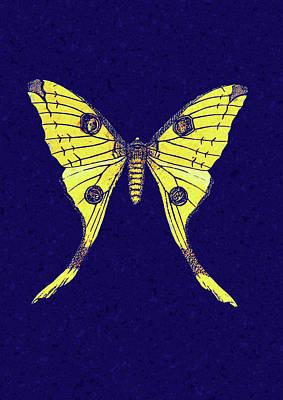 Digital Art - Yellow Butterfly On Blue by Georgiana Romanovna