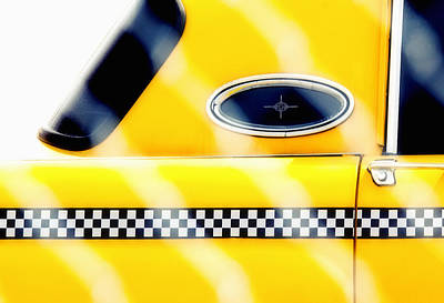 Yellow Cab Behind The Fence Print by Emilio Lovisa
