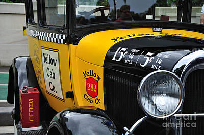 Photograph - Yellow Cab Co. - Vintage Ford Side View by Kaye Menner