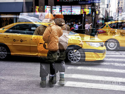 Photograph - Yellow Cab Double Exposure by John Rizzuto