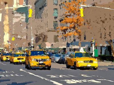 Digital Art - Yellow Cabs At Nyc by Yury Malkov