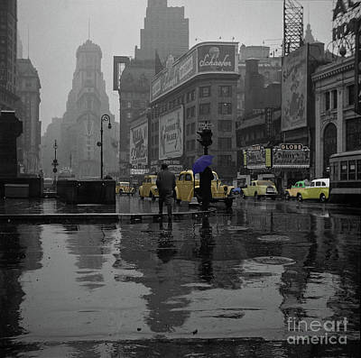 Photograph - Yellow Cabs New York - 1943 by Doc Braham