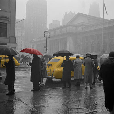 Vintage Taxi Cabs Photograph - Yellow Cabs New York 3 by Andrew Fare