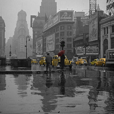Red Photograph - Yellow Cabs New York by Andrew Fare