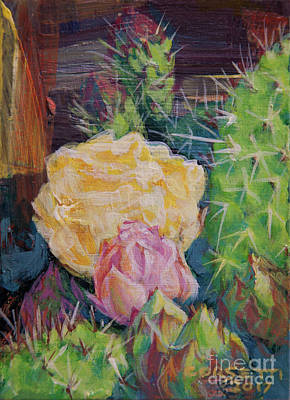 Painting - Yellow Cactus Flower by Rob Corsetti
