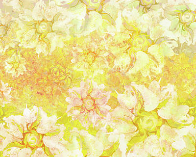 Digital Art - Yellow Camellia Hedges by Kristin Doner