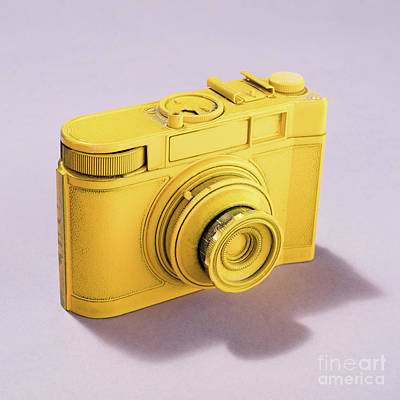 Photograph - Yellow Camera On Pastel Background. by Michal Bednarek