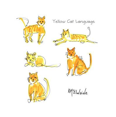 Painting - Yellow Cat Language Kmcelwaine by Kathleen McElwaine